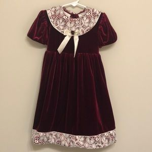 Vintage Burgundy Velvet and Lace Dress - 5T